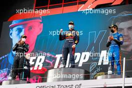 The podium (L to R): Lewis Hamilton (GBR) Mercedes AMG F1, second; Max Verstappen (NLD) Red Bull Racing, race winner; Lando Norris (GBR) McLaren, third. 18.04.2021. Formula 1 World Championship, Rd 2, Emilia Romagna Grand Prix, Imola, Italy, Race Day.