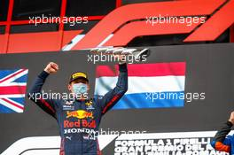 Race winner Max Verstappen (NLD) Red Bull Racing  celebrates on the podium. 18.04.2021. Formula 1 World Championship, Rd 2, Emilia Romagna Grand Prix, Imola, Italy, Race Day.