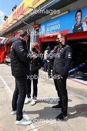 (L to R): Marcin Budkowski (POL) Alpine F1 Team Executive Director with Alain Prost (FRA) Alpine F1 Team Non-Executive Director and Laurent Rossi (FRA) Alpine Chief Executive Officer. 17.04.2021. Formula 1 World Championship, Rd 2, Emilia Romagna Grand Prix, Imola, Italy, Qualifying Day.