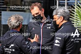(L to R): Alain Prost (FRA) Alpine F1 Team Non-Executive Director with Laurent Rossi (FRA) Alpine Chief Executive Officer and Luca de Meo (ITA) Groupe Renault Chief Executive Officer. 17.04.2021. Formula 1 World Championship, Rd 2, Emilia Romagna Grand Prix, Imola, Italy, Qualifying Day.
