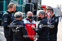 (L to R): Laurent Rossi (FRA) Alpine Chief Executive Officer; Alain Prost (FRA) Alpine F1 Team Non-Executive Director; Frederic Vasseur (FRA) Alfa Romeo Racing Team Principal; Luca de Meo (ITA) Groupe Renault Chief Executive Officer; Marcin Budkowski (POL) Alpine F1 Team Executive Director. 17.04.2021. Formula 1 World Championship, Rd 2, Emilia Romagna Grand Prix, Imola, Italy, Qualifying Day.