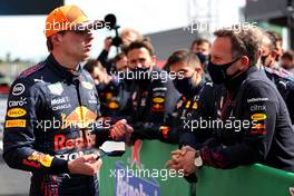 Max Verstappen (NLD) Red Bull Racing and Christian Horner (GBR) Red Bull Racing Team Principal. 02.05.2021. Formula 1 World Championship, Rd 3, Portuguese Grand Prix, Portimao, Portugal, Race Day.
