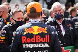 Christian Horner (GBR) Red Bull Racing Team Principal and Max Verstappen (NLD) Red Bull Racing. 02.05.2021. Formula 1 World Championship, Rd 3, Portuguese Grand Prix, Portimao, Portugal, Race Day.