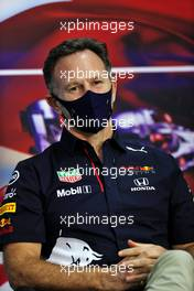 Christian Horner (GBR) Red Bull Racing Team Principal in the FIA Press Conference. 12.03.2021. Formula 1 Testing, Sakhir, Bahrain, Day One.