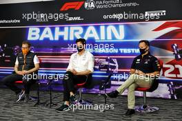 The FIA Press Conference (L to R): Andreas Seidl, McLaren Managing Director; Toto Wolff (GER) Mercedes AMG F1 Shareholder and Executive Director; Christian Horner (GBR) Red Bull Racing Team Principal. 12.03.2021. Formula 1 Testing, Sakhir, Bahrain, Day One.