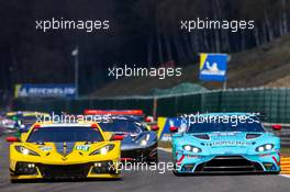 (L to R): Antonio Garcia (ESP) / Oliver Gavin (GBR) #63 Corvette Racing - GM Chevrolet Corvette C8.R and Ben Keating (USA) / Dylan Pereira (LUX) / Felipe Fraga (BRA) #33 TF Sport Aston Martin Vantage AMR. 01.05.2021. FIA World Endurance Championship, Rd 1, Spa Francorchamps, Belgium.  www.xpbimages.com, EMail: requests@xpbimages.com © Copyright: XPB Images